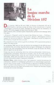 La Longue Marche De La Division 157 - Contre Les Maquis Et Les Partisans 1942-1945 - 4ème de couverture - Format classique