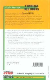 L'Analyse Des Couts. Une Cle Des Choix De L'Entreprise - Vade-Mecum - 4ème de couverture - Format classique