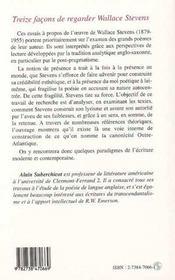 Treize façons de regarder wallace stevens ; une écriture de la présence - 4ème de couverture - Format classique