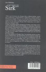 Conversations avec Douglas Sirk - 4ème de couverture - Format classique