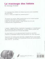 Le massage des bebes ; un message d'amour - 4ème de couverture - Format classique