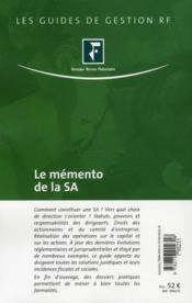 Le memento de la SA - 4ème de couverture - Format classique
