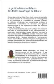 La gestion transfrontalière des forêts en Afrique de l'Ouest - 4ème de couverture - Format classique