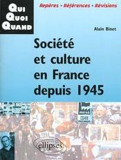 Societe Et Culture En France Depuis 1945 - Intérieur - Format classique