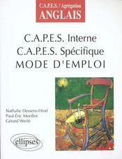 Capes Interne Capes Specifique Mode D'Emploi Capes/Agregation Anglais - Intérieur - Format classique