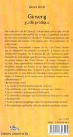 Ginseng ; guide pratique - 4ème de couverture - Format classique