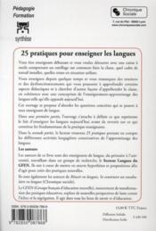 25 pratiques pour enseigner les langues - 4ème de couverture - Format classique