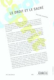 Le droit et le sacré - 4ème de couverture - Format classique