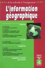 L'Information Geographique T.65 ; Une Geometrie Des Terroirs - Intérieur - Format classique