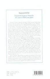 L Argent De La Presse Francaisedes Annees 1820 A Nos Jours - 4ème de couverture - Format classique
