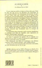 Au Jour Le Jour T.1 ; Les Manuscrits De 1984 - 4ème de couverture - Format classique