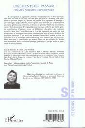 Logements De Passage ; Formes Normes Experiences - 4ème de couverture - Format classique