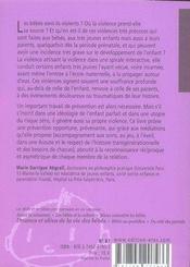 Violences en petite enfance, pour une prévention opportune - 4ème de couverture - Format classique