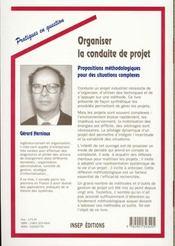Organiser Conduite Projet - 4ème de couverture - Format classique