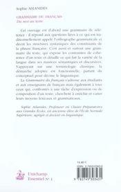 Grammaire Du Francais ; Du Mot Au Texte - 4ème de couverture - Format classique