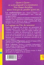 La logique ou l'art de raisonner - 4ème de couverture - Format classique