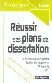 Réussir ses plans de dissertation - Intérieur - Format classique