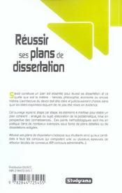 Réussir ses plans de dissertation - 4ème de couverture - Format classique
