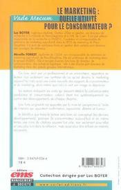 Le marketing : quelle utilite pour le consommateur? vade mecum - 4ème de couverture - Format classique