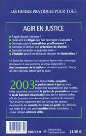 Agir En Justice 2003 - 4ème de couverture - Format classique
