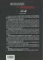 Jean-Luc Godard par Jean-Luc Godard t.1 ; 1950-1984 - 4ème de couverture - Format classique