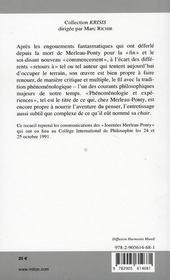 Merleau-Ponty, phénomenologie et expériences - 4ème de couverture - Format classique