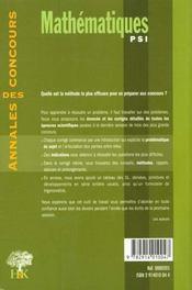 Mathemathiques Psi - 4ème de couverture - Format classique