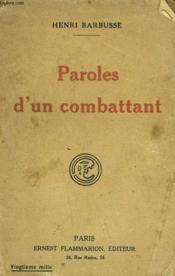 Paroles D'Un Combattant. - Couverture - Format classique
