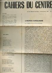 Cahiers Du Centre - Journal Litteraire - Janv-Fev 1962 - N°1 / A Propos D'Apolinaire - A Propos De Lamartine - Poemes De Jean Ebrau, Lena Eeclercq .... - Couverture - Format classique