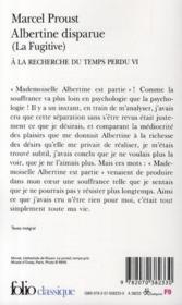 À la recherche du temps perdu t.6 ; Albertine disparue - 4ème de couverture - Format classique