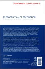 Expropriation et préemption ; aménagement, urbanisme, environnement (5e édition) - 4ème de couverture - Format classique