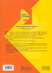 INDICE MATHS ; 2nde ; cahier d'activités - 4ème de couverture - Format classique