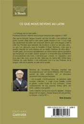 Ce que nous devons au latin - 4ème de couverture - Format classique