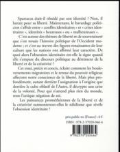 L'obsession identitaire ; politique de soumission ou politique de liberté ? - 4ème de couverture - Format classique