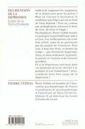 Des bienfaits de la dépression ; éloge de la psychothérapie - 4ème de couverture - Format classique