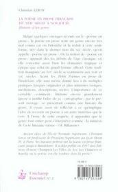 La Poesie En Prose Francaise Du Xvii Siecle A Nos Jours ; Histoire D'Un Genre - 4ème de couverture - Format classique