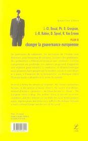 Plan b ; changer la gouvernance européenne - 4ème de couverture - Format classique