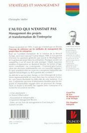 L'Auto Qui N'Existait Pas. Management Des Projets Et Transformation De L'Entreprise - 4ème de couverture - Format classique
