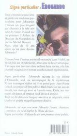 Signe particulier : Edouardo - 4ème de couverture - Format classique