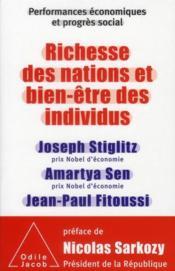 Performances économiques et progrès social ; richesse des nations et bien-être des individus t.1 - Couverture - Format classique