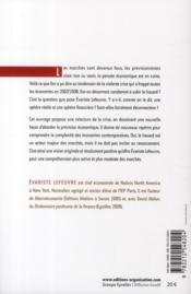 Marchés financiers : la logique du hasard ; rapprocher les marchés et l'économie pour ne plus subir l'imprévisible - 4ème de couverture - Format classique