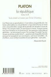 La republique - livres i a x - 4ème de couverture - Format classique