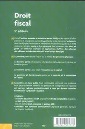 Droit fiscal (9e edition) - 4ème de couverture - Format classique