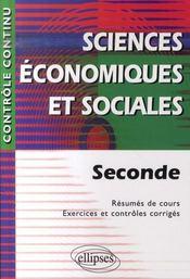Controle Continu ; Sciences Economiques Sociales ; 2nde - Intérieur - Format classique