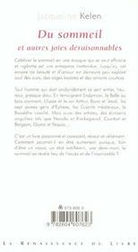 Du Sommeil Et Autres Joies Deraisonnables - 4ème de couverture - Format classique