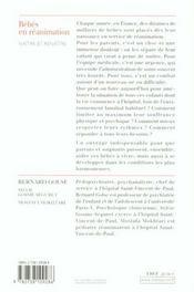 Bebes en reanimation - naitre et renaitre (avec la collaboration de martine bloch) - 4ème de couverture - Format classique