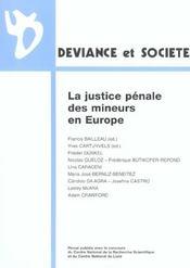 La Justice Penale Des Mineurs En Europe - Intérieur - Format classique