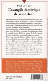 L'évangile ésoterique de saint Jean - 4ème de couverture - Format classique