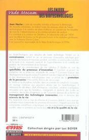 Les enjeux des biotechnologies. vade-mecum - 4ème de couverture - Format classique