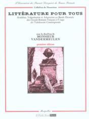 Litterature pour tous. synthese, vulgarisation et adaptation en bande dessinee des grands romans fr - Couverture - Format classique